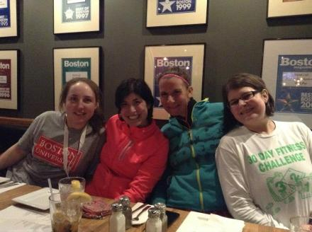 Mary, Daniella, Jess, and me at dinner after the run