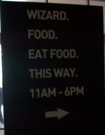 Funny sign for the food court